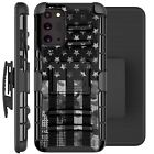 Holster Case For Galaxy Note20/ Note 20 Ultra 5G Phone Cover- GRAY CAMO 1/2 FLAG