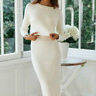 Two Piece Set Women's Knitted Suit Solid Long Sleeve Sweater and Skirt Outfits