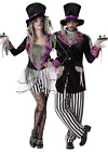 Couples Matching Gothic Evil Mad Hatter Halloween Fancy Dress Costumes XS-XXL
