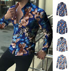 Mens Casual Slim Office Work Shirt Long Sleeve Lapel Floral Tops Dress Shirts