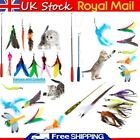 Cat Feather Wand Stick Wire Teaser Kitten Toy Dangle Bell Interactive Play Toys