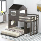 win Over Full Bunk Bed, Loft Bed with Playhouse, Farmhouse, Ladder Guardrails