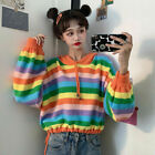 Women Rainbow Striped Sweaters Top Knitted Hooded Short Loose Outwear Fashion