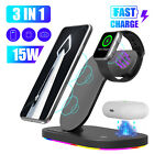 3 In1 LED Qi Wireless Fast Charger Charging Station Stand For Apple Watch iPhone