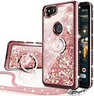 For Google Pixel 2/XL/2XL Case Glitter Liquid Protective Phone Cover+Ring Stand