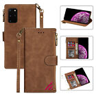 Brown Newest Multi-function Zipper Wallet Card Slot Leather Phone Cover Case Bag