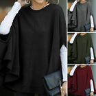 Womens Vintage Batwing Sleeve Tops Baggy Shirt Plain Blouse Plus Size Pullover