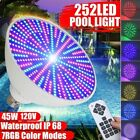 45W 252LED 12/120V RGB Underwater Swimming Pool SPA Light Color Change Lamp IP68