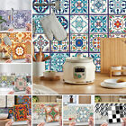 Diy 24pcs Mosaic Tile Stickers Floral Self Adhesive Kitchen Bathroom Home Decor