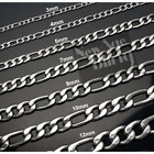 "Stainless Steel Figaro Chain Silver 16""-30"" Men Women Necklace 3/4/5/7/9/10/12mm"