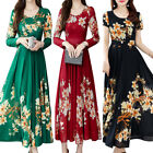 Womens Floral Long Sleeve Swing Long Maxi Dresses Slim Fit Party Evening Dress
