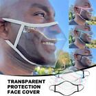 Reusable Clear Transparent Unisex Adult Face Mask w/ Mouth Lip Expression Window