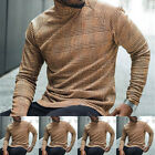Men's Long Sleeve Plaid T Shirt High Neck Turtleneck Pullover Jumper Sweater Top