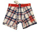 Psycho Bunny Men's White Multi Plaid Print Bunny Boxer Brief