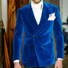 Blue Velvet Men Suits Blazer Double Breasted Wedding Groom Prom Party Jackets