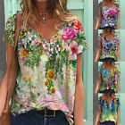 Plus Size Womens V Neck Short Sleeve Blouse Casual Baggy T-Shirt Tunic Tops Tees
