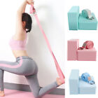 With Brick Block Exercise Yoga Strap Set Relax D Ring Cotton Blend High Density