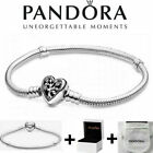 Genuine Silver Pandora Moments Family Tree Heart Clasp Snake Chain Bracelet+Box