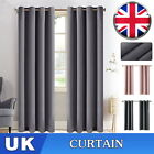 Pair Hotel Quality Thermal Blackout Curtains Eyelet Ready Made Ring Top Curtain