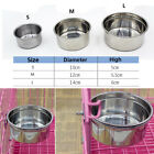 Pet Dog Cat Puppy Stainless Steel Hanging Food Water Bowl Feeder For Crate Cage