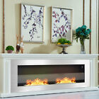 35/47'' Wall Mount Inset Bio Ethanol Fireplace Stainless Steel Glass Fire Heater