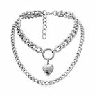 Double Layer Necklace Choker Metal Heart Pendant Chunky Punk Thick Chain Jewelry