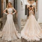 Champagne With Detachable Train Off the Shoulder Long Sleeves Wedding Dreseses
