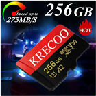 256GB KRECOO Micro SD Memory Card Class10 275MB/S Fast Flash Card with Adapter