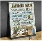 Bathroom Rules Vintage Wash Your Hand Farmhouse Canvas Wall Art Decor
