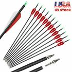 """30"""" Carbon Arrows Spine 500 7.8mm Hunting Archery Compound Bow Target Practice"""