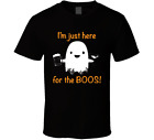 Im Just Here For The Boos Halloween Joke Funny Beer Pun Drinking Parody Mens Tee