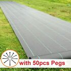 100gsm Weed Control Fabric Ground Cover Membrane Garden landscape mulch +50 Pegs