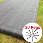 Heavy Duty Weed Control Fabric Ground Cover Membrane Garden Landscape + 50 Pegs
