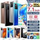 Note60 PRO 7.1'' Smartphone Android 12G 512G Dual SIM Facial Mobile Phone