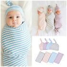 Newborn Baby Swaddle Blanket Receiving Blanket Swaddle Wrap Hat Outfits Hot