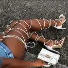 Women gladiator knee high sandals open toe lace up cross strappy sandals