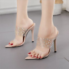 Women's High Stilettos Heels Rhinestone Sandals Pvc Open Toe Party Shoes Slipper