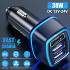 38W 3 Port USB PD Type-C Car Charger Fast Charging Adapter For iPhone 12 11 Pro
