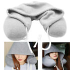 Adults+Hooded+With+Hat+Solid+Neck+Pillow+Drawstring+Flight+Cushion+U-shaped