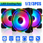 3 Pack LED Quiet Cooling Fan Noise Reduction 120mm 12v for Computer Case PC CPU