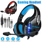 3.5mm Gaming Headset Mic LED Stereo Bass Surround Headphones For PC PS4 Xbox One